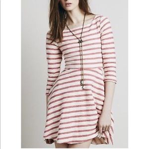 NWT Free People Red/White Stripped Dress. Sz: M.